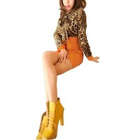 Women Long Sleeve Leopard Prints Tight Pullover Mini Dress + Waistband