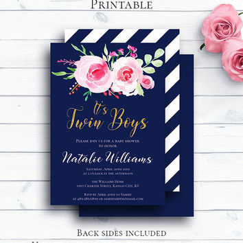 Navy Blue Boy Twins Baby Shower, Personalized Baby Shower Invitation, Baby Boy Twins, Floral Printable Invitation, Gold Glitter