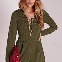 Missguided - Long Sleeve Lace Up Front Romper Khaki