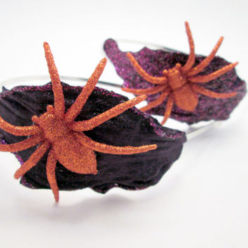 Spider Headband - Purple Wedding Headpiece Tiara - Bride - Halloween - Steampunk or Goth wedding