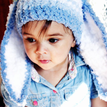 2T to 4T Toddler Bunny Hat, Boy Rabbit Hat, Blue Stripe Hat, Easter Bunny Toddler Hat, Blue White Bunny Ears Childrens Photo Prop