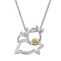 Sophie Miller Cubic Zirconia 14k Gold Over Silver & Sterling Silver Cow Pendant Necklace (White)