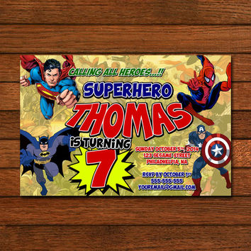Superhero comic Marvel Invitation