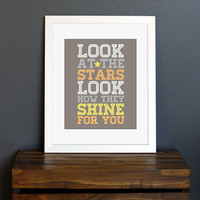 Look At The Stars Typography Art Print  Coldplay by CisforColor