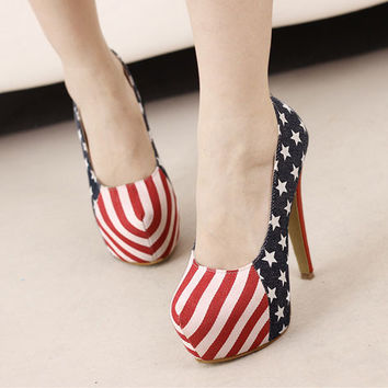 American Flag Navy Fashion Thin High Heels