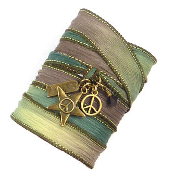 Silk Wrap Bracelet with Peace Signs and Believe Charm, yoga jewelry, silk ribbon bracelet, yoga bracelet, silk wrap