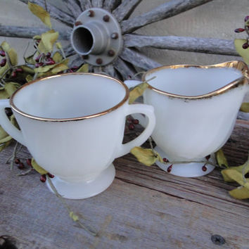 Mid Century Fire King White Milk Glass with gold rims footed creamer / sugar set, Chic white milk glass creamer and sugar, wedding serving