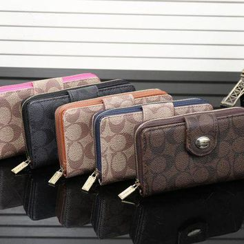 ICIK6HW Coach' Fashion Classic Logo Print Double Layer Zip Purse Button Women Fold Wallet