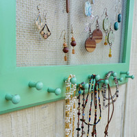 Cottage Chic Distressed Jewelry Organizer Earring Holder Display