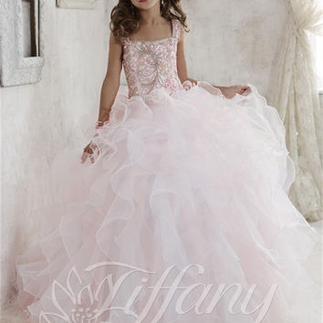 2016 Sweet Crystals Flower Girl Dresses Organza Ball Gown Floor-Length Girls Pageant Dresses First Communion Dresses For Girls