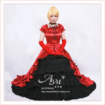 Gothic Lolita Dress Punk Medieval Gown Long Dress Evening Dress Cosplay Costume Princess Custom-made Alternative Measures - Brides & Bridesmaids - Wedding, Bridal, Prom, Formal Gown