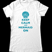 Keep Calm and Mermaid On T-Shirt - Printed on Super Soft Cotton Jersey T-Shirts for Women and Men/Unisex