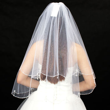 Wedding Veils With Crystal Bead Edage for Bride High Quality Soft Tulle Bridal Veil with Crystal Short Layered Bridal Vail White