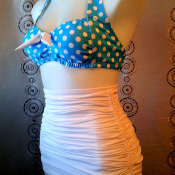 Rita Bikini  Retro Top & Attached Skirt Tummy Control bottoms in Large Aqua Dot and White