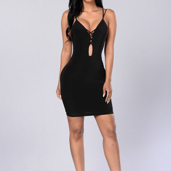 Come Back Again Mini Dress - Black