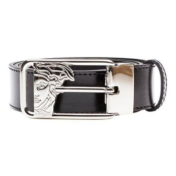 ESBON Versace Collection Men's Medusa Steel Buckle Leather Belt Black