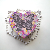 Butterfly splatter heart shaped jewelry box for trendy girls room