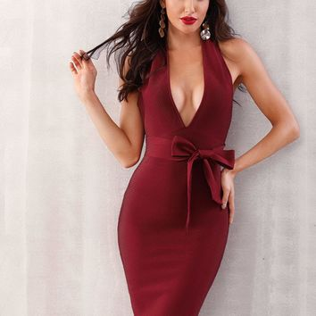 Adyce Plunge Neck Tie Front Backless Halter Bodycon Dress