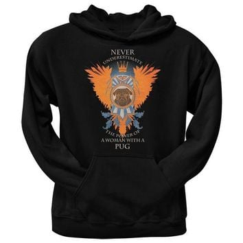 CREYCY8 Never Underestimate Woman Power Pug Black Adult Pullover Hoodie