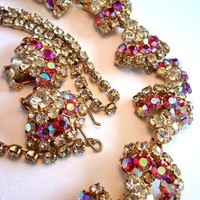 Pink AB Rhinestone Necklace Earrings Set, Sparkly Choker, Vintage