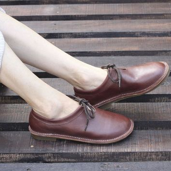 Women Flat Shoes Plain toe Lace up Ladies Flat Shoes Hand-made Genuine Leather Woman Shoes Female Spring/Autumn Footwear (D128)