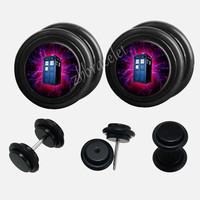 Black Acrylic Doctor Who   Plugs,fake Gauges,UV Acrylic  plugs,plugs gauges