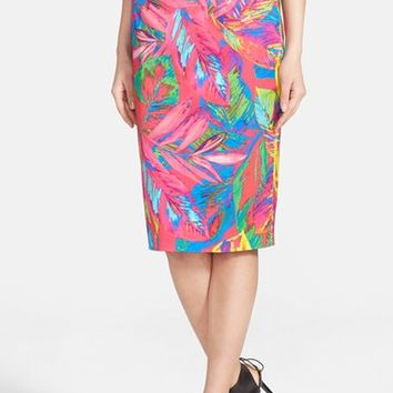 Women's Milly Feather Print Pencil Skirt