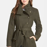 Women's Kenneth Cole New York Belted Wool Blend Asymmetrical Military Coat