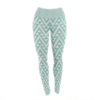 "Amanda Lane ""Geo Tribal Turquoise Sky"" Teal Aztec Yoga Leggings"