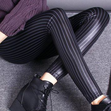 DCCKH6B Women fashion stripe Leggings for lady street casual stretch pant female immitation leather leggings slim fitted jeggings
