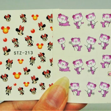 2 sheets Minnie Mouse water Decals, Purple Bear Nail Art, Nail Design, Minnie Mouse, Mickey Mouse, Bow Nails, Bears, Nail Art, Water Decals