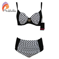 Andzhelika 2016 Sexy Bikinis Women Swimsuit High Waisted Bathing Suits Swim Polka Dot Push Up Bikini Set Plus Size Swimwear XXL