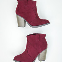 Elegant Faux Suede Booties in Wine