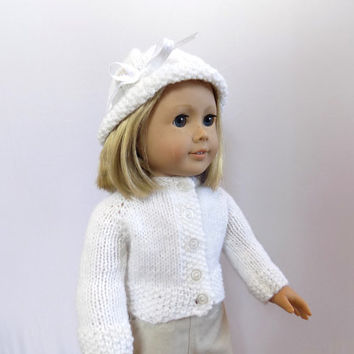 18 Inch Doll Sweater Hat Set, White Doll Sweater, Knit Doll Clothes