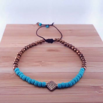 Luminous turquoise and copper beaded bracelet // boho chic // matte turquoise seed beads // metallic copper seed beads // fall bracelet