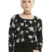 Black Bug Intarsia Knit Girls Sweater