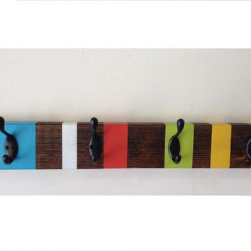 Rustic wood coat hook rack , wall mount coat rack, multicolor childrens coat rack, entrway storage, teal blue coat rack