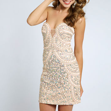 beaded pink short dress 20440 - Homecoming Dresses