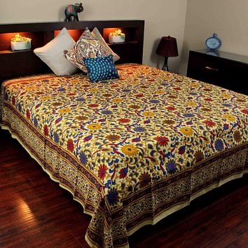 Handmade 100% Cotton Sunflower Tapestry Bedspread Tablecloth Lemon Yellow Twin Full Queen King