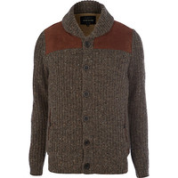 River Island MensLight brown shoulder panel detail cardigan