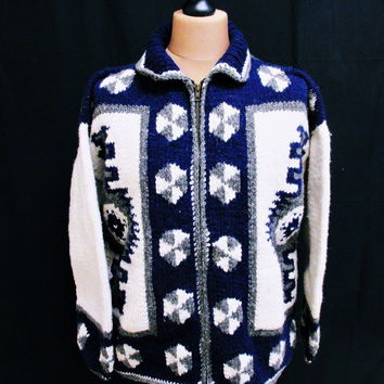 Vintage 1980s 100% Wool Native American Aztec Pattern Cardigan XL