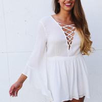 Driving You Crazy Romper {White}