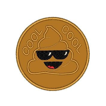 """Patch Craft - Poop Emoji Cool - (2.75"""" Round Patch Iron On)"""