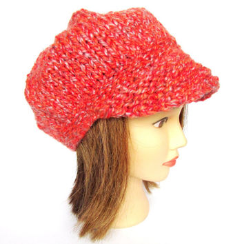 Newsboy hat burnt orange hat knit with wool free yarn irish knit hat chunky knitted hats peak cap irish tweed cap ski accessory orange fleck