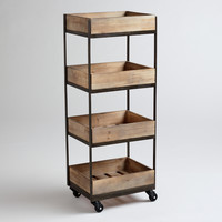 4-Shelf Wooden Gavin Rolling Cart - World Market