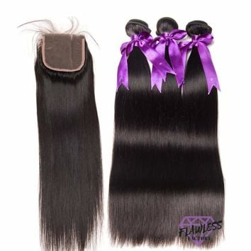 Brazilian Silky Straight Hair Extensions 3 Bundles With Lace Closure