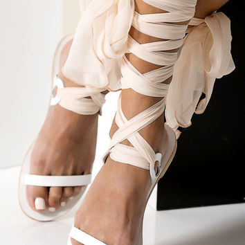 "Bridal leather sandals with silk laces, Wedding flats, White sandals ""Agape"" NEW - Free standard shipping"