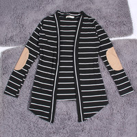 Black and White Striped Loose Cotton Cardigan Long Sleeve Sweater For Big Yards Coats