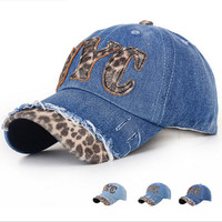 2015 Fashion Leopard Women Baseball Cap Snapback Hiphop Golf Caps Hat Adjustable NYC Letter Hats Outdoor Casual hats
