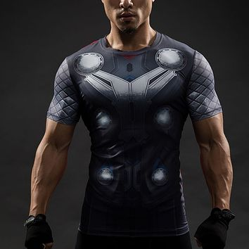 Guys THOR 3D Printed Men Fitness Compression Shirt